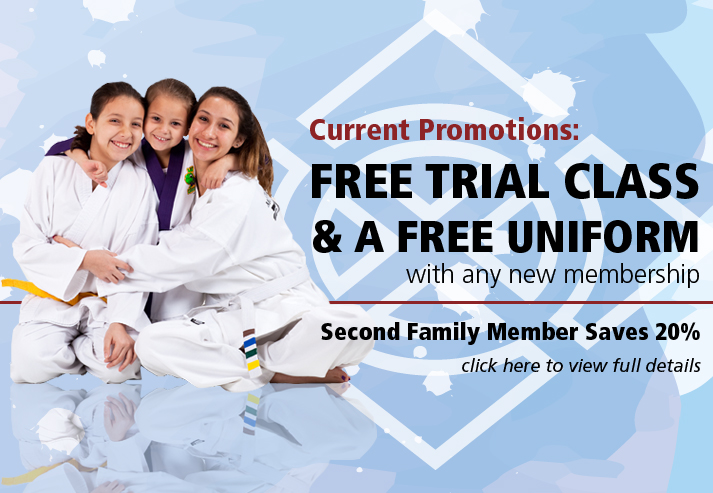 Current Promotions: Free Trial Class, Free Uniform, 2nd Family Member 20% off